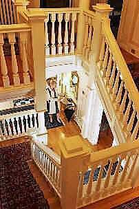 Wood interior stairway
